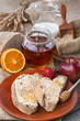 Healthy breakfast with honey, fruit and wholemeal bread