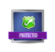 protected shield button icon illustration