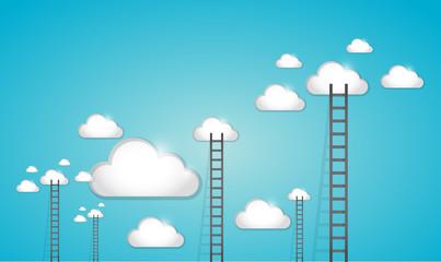 ladder to clouds illustration design