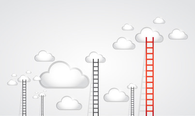 ladders to clouds. illustration design