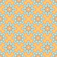 orange background with blue flowers
