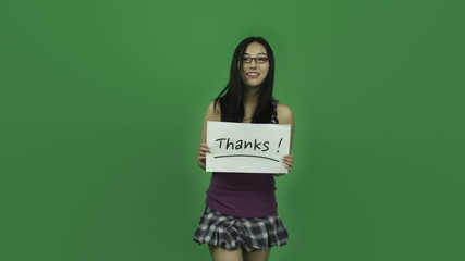 Asian student girl isolated greenscreen green background