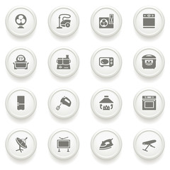 Home appliances icons on gray buttons.