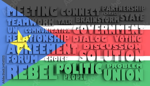 poster of  south sudan flag relief text in conformity political situation