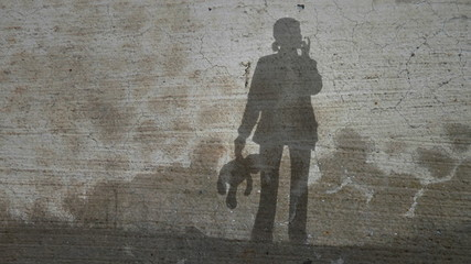 Grunge Silhouette of Girl with Teddy Bear