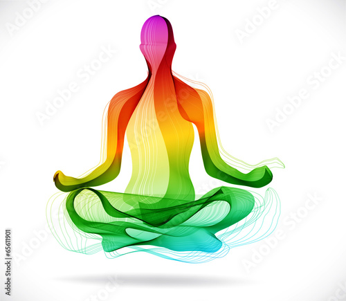 Yoga pose, Abstract color background - 65611901