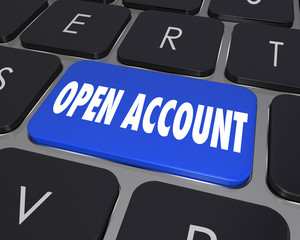 Open New Account Computer Keyboard Key Button Register Online Se