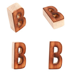 English alphabet  B - collage of 4 isolated vintage wood