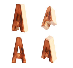 English alphabet  A - collage of 4 isolated vintage wood
