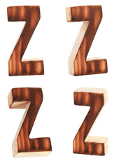English alphabet  Z - collage of 4 isolated vintage wood