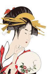 喜多川歌麿 五人美人愛敬競 松葉屋喜瀬川イメージイラスト
