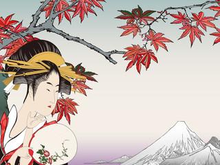 歌麿 美人画と広重 紅葉手古那のイメージイラスト
