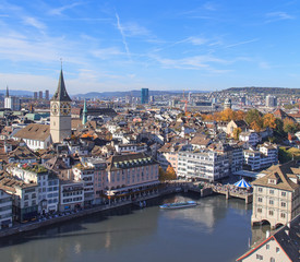 Zurich cityscape, view from Great Minster