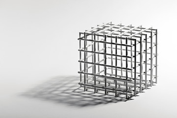 Open cube frame on a white background