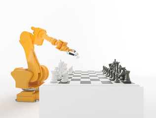 Industrial robot playing chess