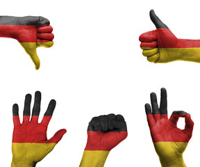 Hand set with the flag of Germany