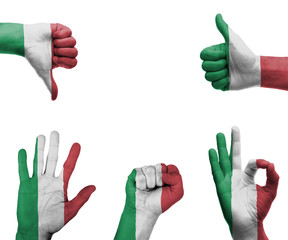 Hand set with the flag of Italy