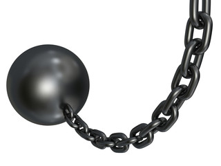 heavy metallic wrecking chain sphere isolated on white backgroun