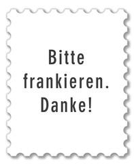 Vorlage Briefmarke, Bitte frankieren. Danke!