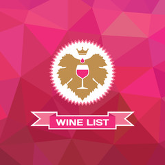 Geometirc Background with the Grape Leaf and Glass of Wine