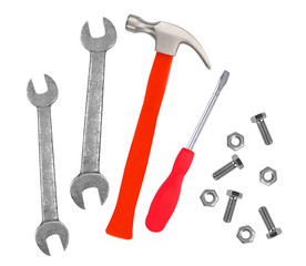 Hammer, screwdriver and wrenches isolated on white