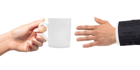 Woman hand with cup of coffee and man hand isolated on white