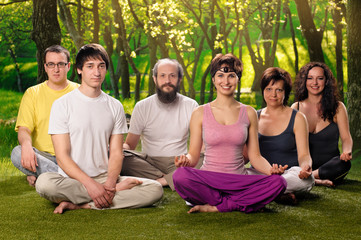 Outdoor Yoga People Meditation