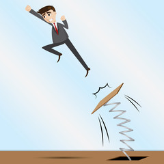cartoon businessman jumping on springboard