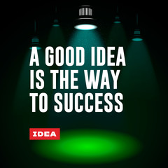 Idea concept. A good idea is the way to success.