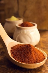 Cayenne pepper in a big wooden spoon.