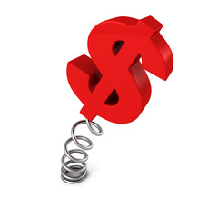 red dollar currency symbol on spring. business success