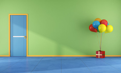 Colorful room with balloons - rendering