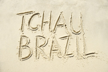 Brazil Goodbye Tchau Message Sand Writing