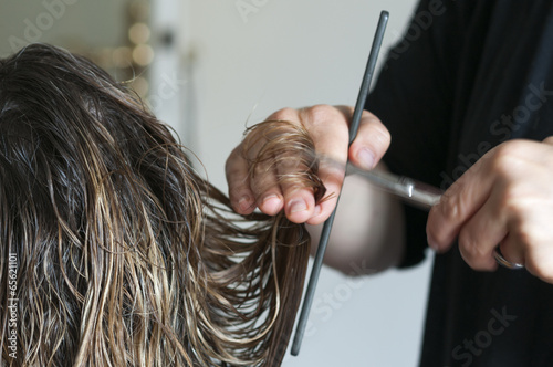 canvas print picture Frau beim Friseur