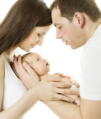 Parents and baby. Family mother, father, newborn child