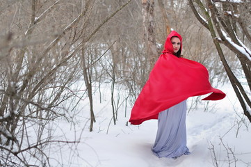 Red Riding Hood on a footpath