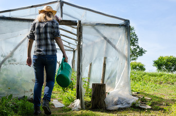 Gardener woman with watering-can walk greenhouse