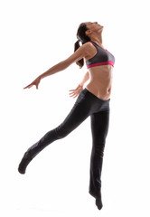 Mujer bailando danzando,haciendo yoga,estiramiento.