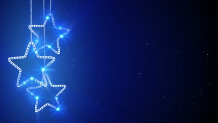 blue hanging stars loop background