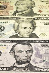 The portraits of U.S. Presidents represented on notes of 5,10,20
