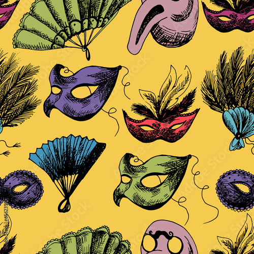 Cotton fabric Hand Drawn Carnival Seamless Background