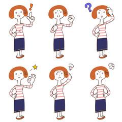 女性の6種類のポーズと仕草(全身)