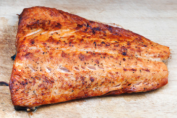 Salmon grilled on cedar board