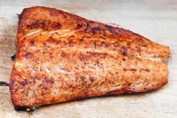 Salmon grilled on cedar board
