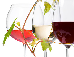 Three glasses of wine isolated on white background