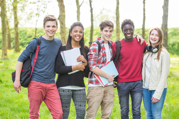Multiethnic Teenage Students at Park