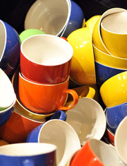 Colorful mugs, breakfast, tableware home
