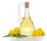 Fototapety Rapeseed oil and flowers isolated over white.