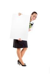 beautiful stewardess holding blank sheet