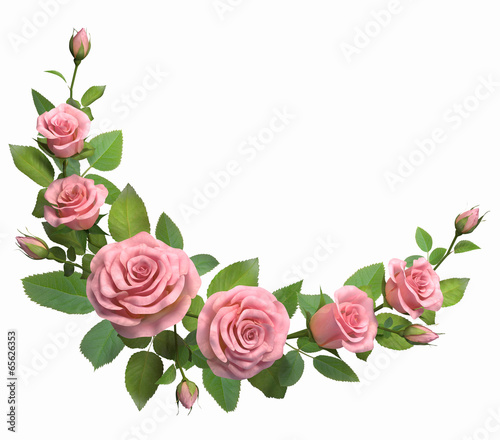 Fotobehang Bloemenwinkel Rounded border with roses branches isolated in white.
